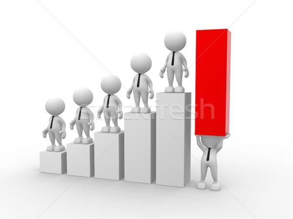 Stockfoto: Zakenman · 3d · mensen · mannen · persoon · staafdiagram