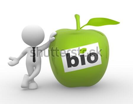 Bio 3d emberek férfi személy zöld alma Stock fotó © coramax