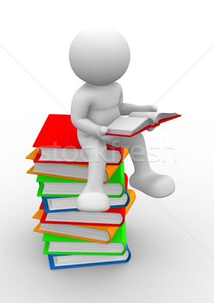 Livros 3d pessoas humanismo pessoa 3d render Foto stock © coramax