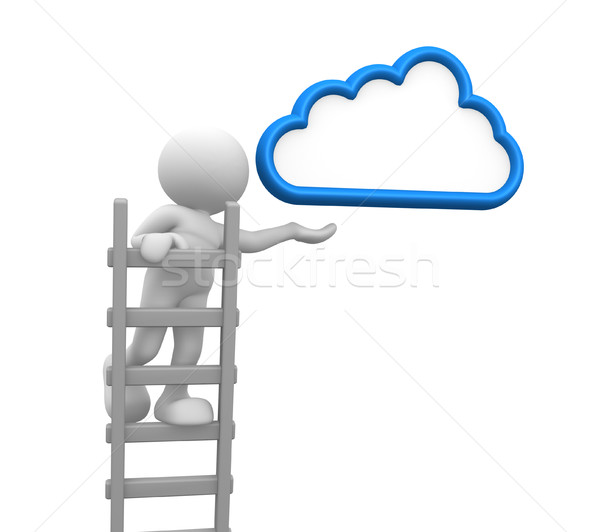 échelle gens 3d homme personne nuage aspiration Photo stock © coramax