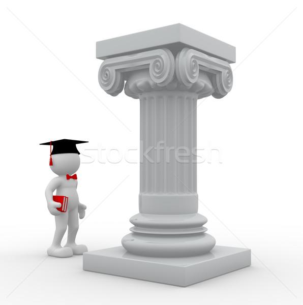 Afgestudeerde 3d mensen menselijke karakter persoon afstuderen Stockfoto © coramax