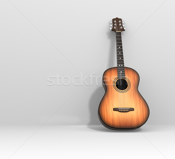 Guitarra acústica 3d ilustración madera guitarra concierto Foto stock © coramax