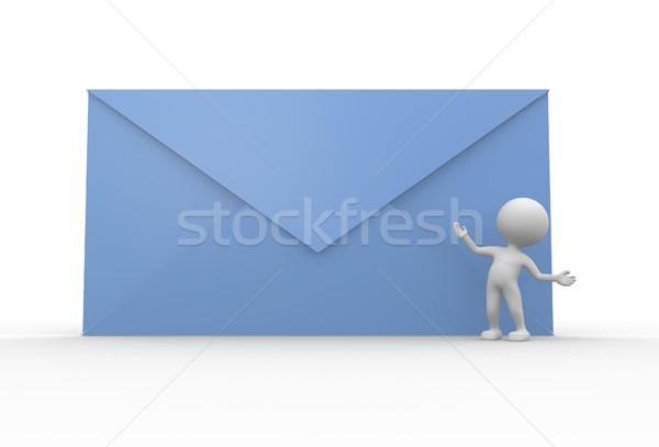 почты 3d люди человека человек большой бумаги Сток-фото © coramax