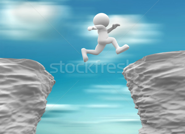 Man jumping over a chasm Stock photo © coramax