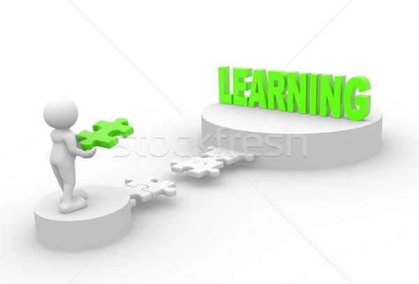 Puzzle la gente 3d uomo persona pezzi apprendimento Foto d'archivio © coramax