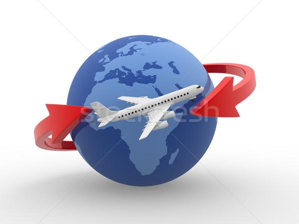 Repülőgép kettő nyilak Föld földgömb repülés Stock fotó © coramax