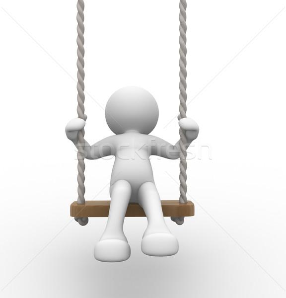 Salıncak 3d insanlar insan karakter kişi çocuk Stok fotoğraf © coramax