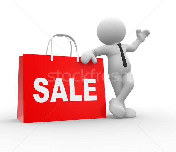 Verkoop 3d mensen menselijke karakter persoon boodschappentas Stockfoto © coramax