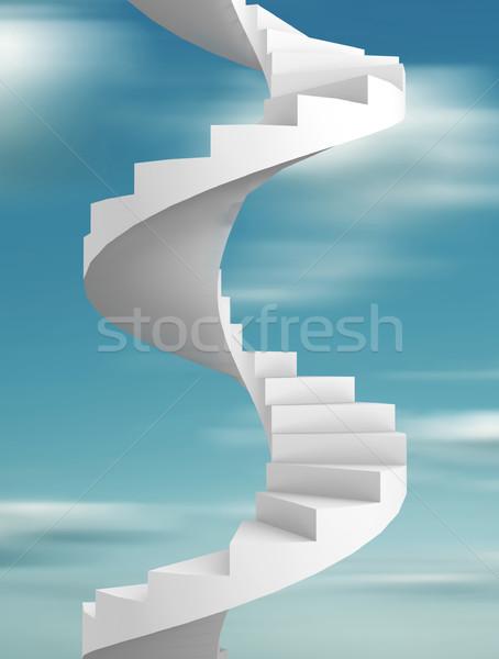Escalera 3d ilustración cielo resumen Foto stock © coramax