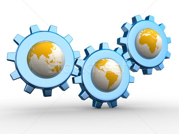 Mekanizma dünya 3d render örnek dünya Stok fotoğraf © coramax