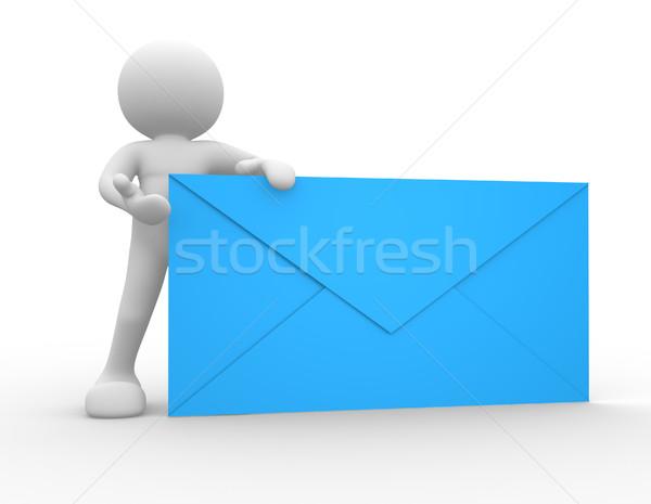Envelop 3d mensen menselijke karakter persoon groot Stockfoto © coramax