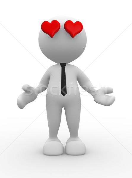 Szeretet 3d emberek férfi személy piros szív Stock fotó © coramax