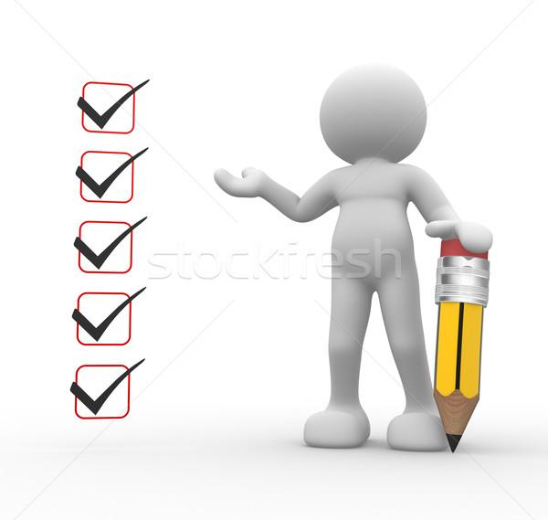 Stockfoto: Controleren · lijst · 3d · mensen · man · persoon · potlood