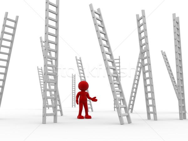 3d люди человека характер человек лестниц 3d визуализации Сток-фото © coramax