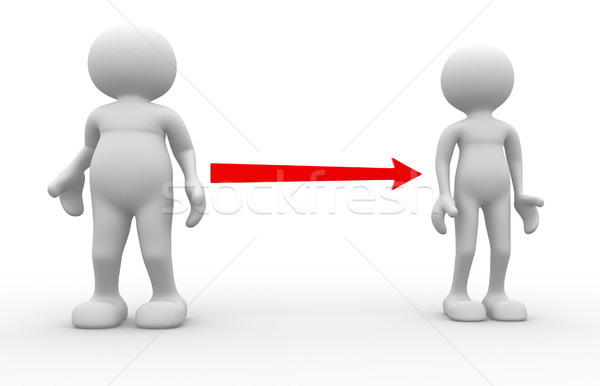 Yağ zayıf 3d insanlar erkekler kişi diyet Stok fotoğraf © coramax