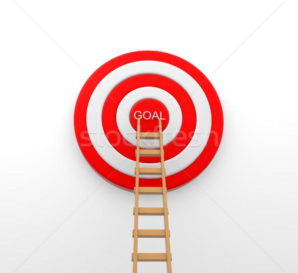 目標 3D はしご 真ん中 ターゲット 白 ストックフォト © coramax