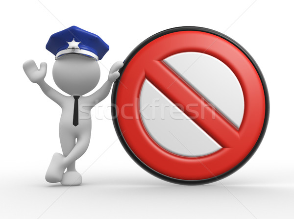 Zdjęcia stock: Policjant · 3d · osób · człowiek · ludzi · znak · stopu · działalności