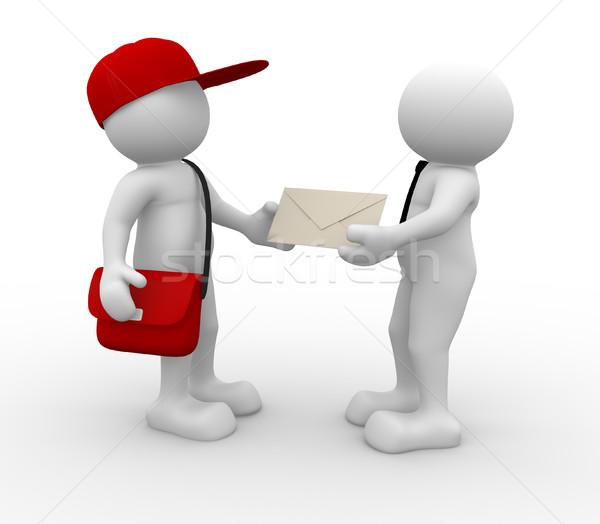 Briefträger 3D-Menschen menschlichen Zeichen Person cap Stock foto © coramax