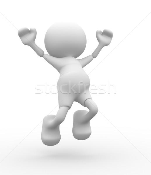 Boldog 3d emberek férfiak személy karikatúra fut Stock fotó © coramax
