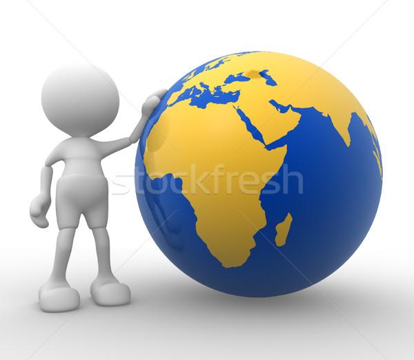 地球 世界中 3次元の人々 男 人 地図 ストックフォト © coramax