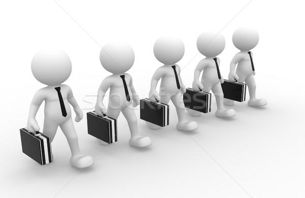 Imprenditori la gente 3d uomini persona valigetta cravatta Foto d'archivio © coramax