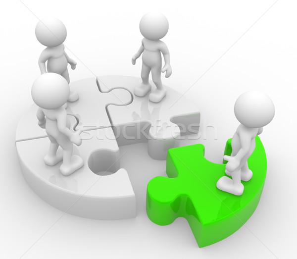 Puzzle gens 3d hommes personne groupe discrimination Photo stock © coramax