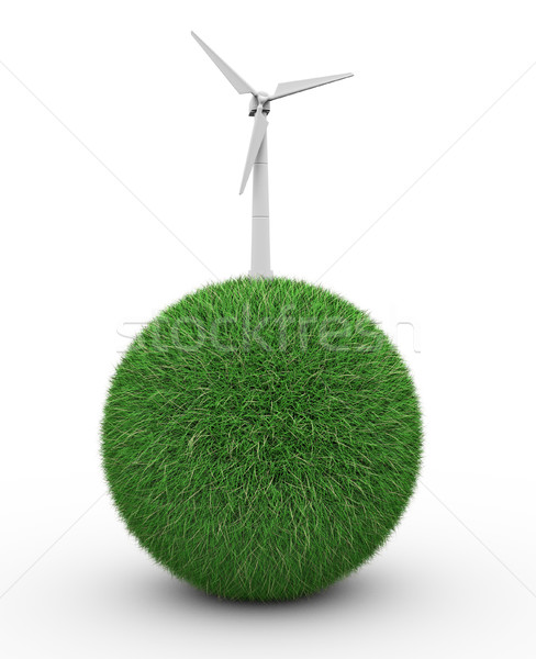 Sphere with grass and wind turbine  Stock photo © coramax