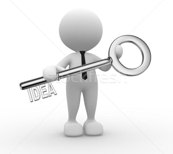 Stock foto: Schlüssel · 3D-Menschen · Mann · Person · halten · Wort