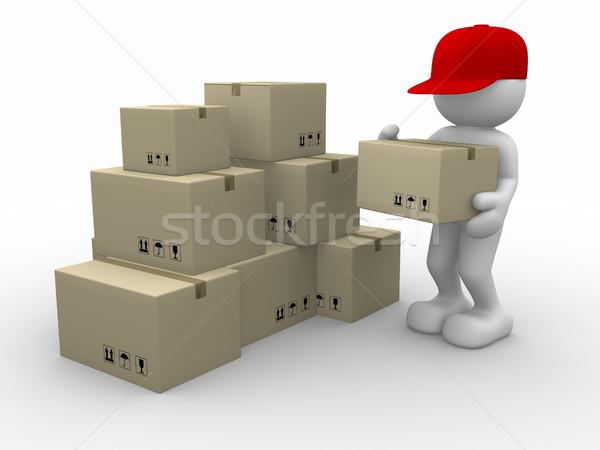 Briefträger 3D-Menschen menschlichen Zeichen Person Karton Stock foto © coramax