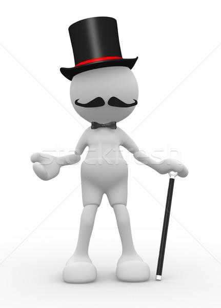 Beyefendi 3d insanlar adam kişi şapka Stok fotoğraf © coramax