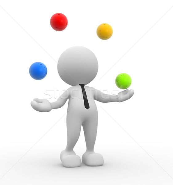 3d osób człowiek osoby kule równowaga internetowych Zdjęcia stock © coramax