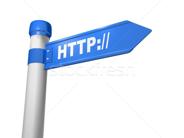 Http stylisé panneau routier signature rendu 3d résumé Photo stock © coramax