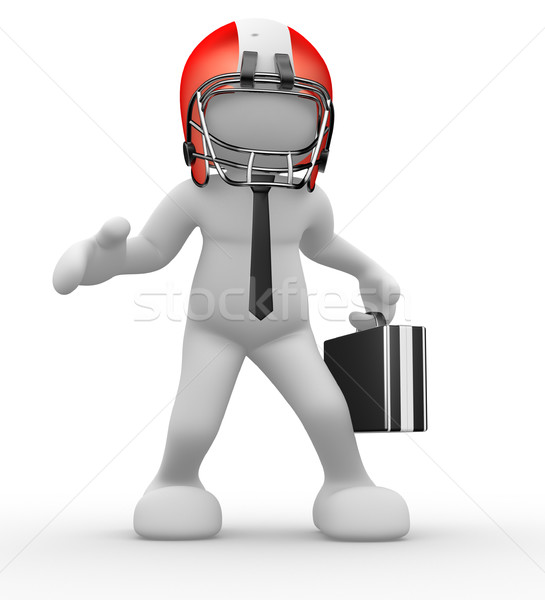 Stockfoto: Amerikaanse · voetballer · 3d · mensen · menselijke · karakter · persoon