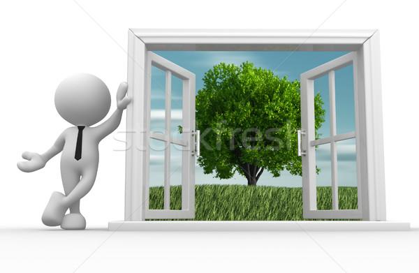 Open finestra la gente 3d uomo persona albero Foto d'archivio © coramax