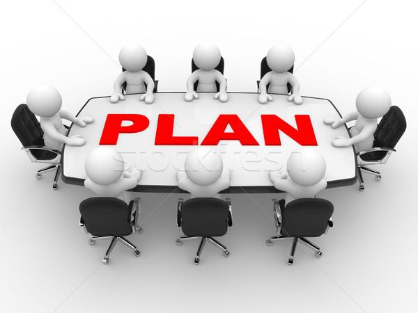 Konferencia asztal 3d emberek férfiak személy üzleti megbeszélés Stock fotó © coramax