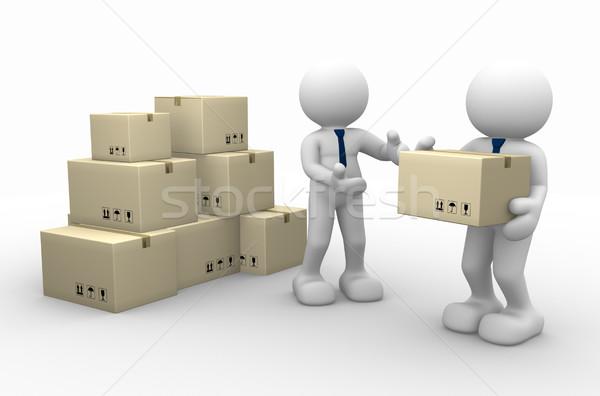Carteiro 3d pessoas homens pessoa cartão caixas Foto stock © coramax
