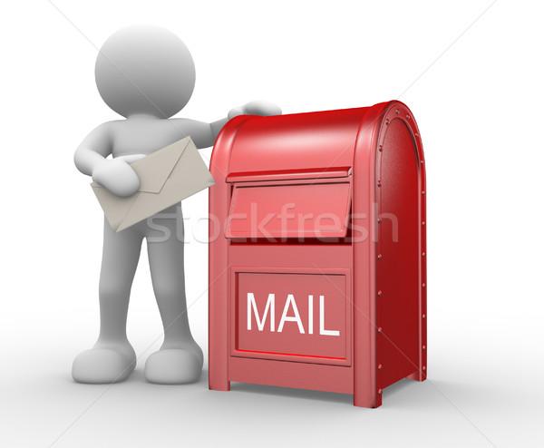 Сток-фото: 3d · люди · человека · характер · человек · конверт · почтовый · ящик