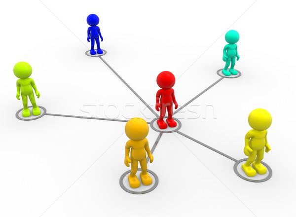 Hálózat 3d emberek férfiak személy absztrakt csapat Stock fotó © coramax