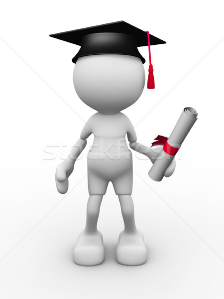 3d mensen man persoon afstuderen student achtergrond Stockfoto © coramax