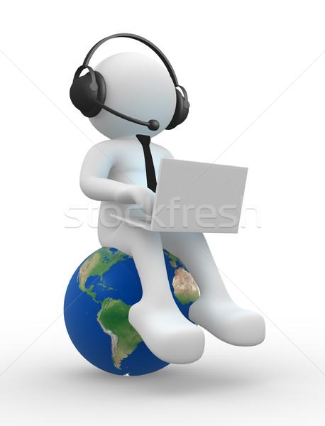 Stok fotoğraf: Dizüstü · bilgisayar · 3d · insanlar · adam · kişi · kulaklık · toprak