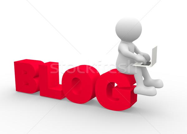 Blogger 3d osób człowiek osoby laptop działalności Zdjęcia stock © coramax