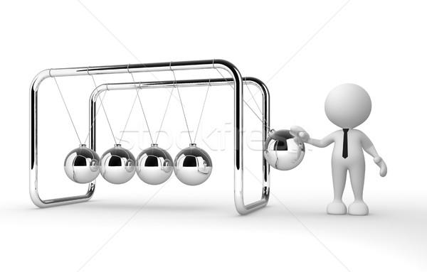 Wiege 3D-Menschen Mann Person Metall Männer Stock foto © coramax