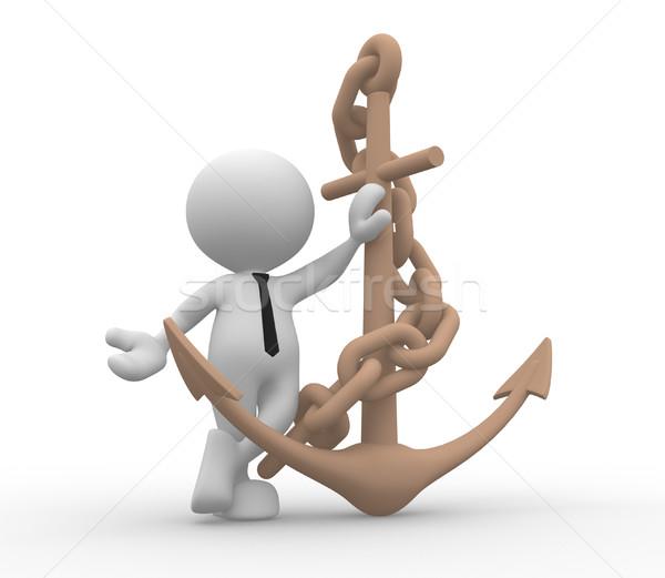 Ancla cadena 3d personas hombre persona mar Foto stock © coramax