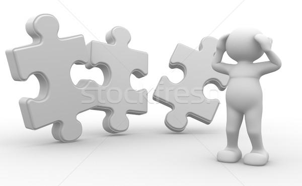 Puzzle la gente 3d uomo persona pezzo business Foto d'archivio © coramax