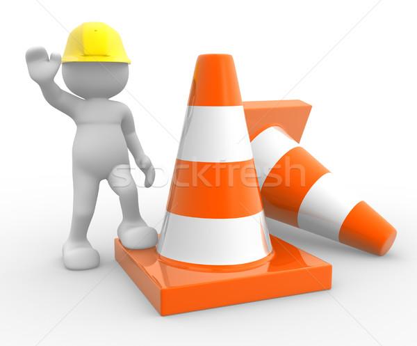Stockfoto: Verkeer · 3d · mensen · man · persoon · oranje · helpen
