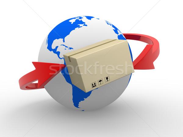 Házhozszállítás csomagok világszerte Föld földgömb nyilak Stock fotó © coramax