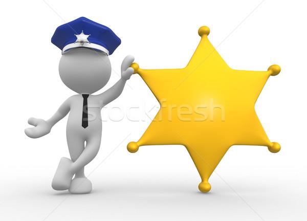 Polis 3d insanlar adam insanlar şerif rozet Stok fotoğraf © coramax