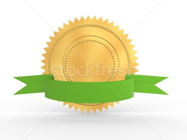Altın garanti madalya yeşil yay yalıtılmış Stok fotoğraf © coramax