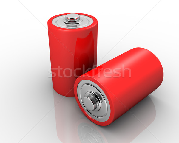 Red AA batteries in a row Stock photo © coramax