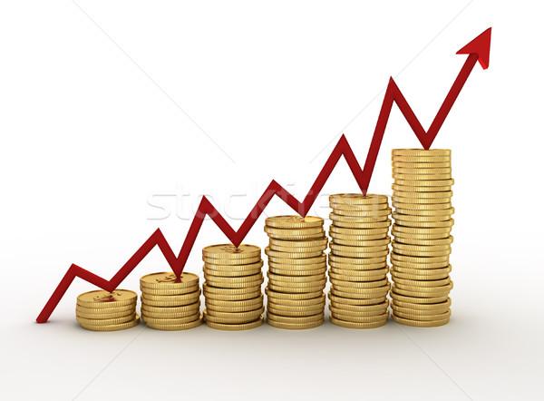 Financieros diagrama dinero 3d ilustración rojo Foto stock © coramax